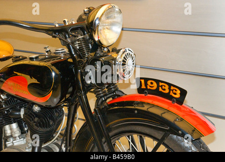 1933 Harley-Davidson motorcycle on display at the companies new museum in Milwaukee,Wisconsin,USA. - Stock Photo