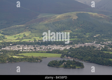 Keswick, Derwent Water, Derwent Isle, Latrigg as seen from the summit of Cat Bells, Lake District National Park, - Stock Photo