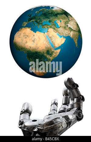 Earth and Iron hand - Stock Photo