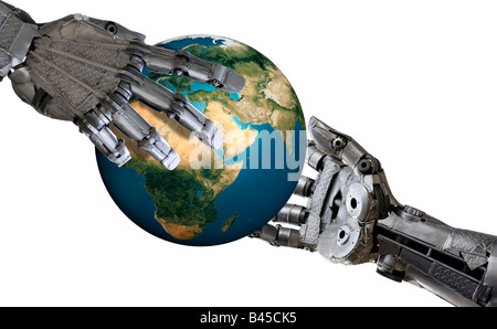 Earth in Iron hands - Stock Photo