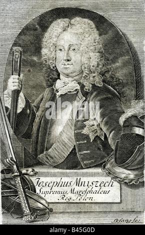 Mniszech, Josef Wandalin, 1670 - 1797, Polish politician, Great Crown Marshall 1713 - 1742, half length, engraving - Stock Photo