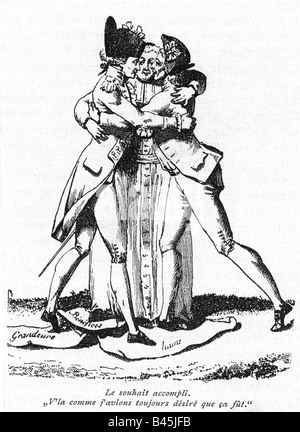 geography/travel, France, Revolution 1789 - 1799, flysheet, unification of the three Estates, engraving, 1789, French, - Stock Photo