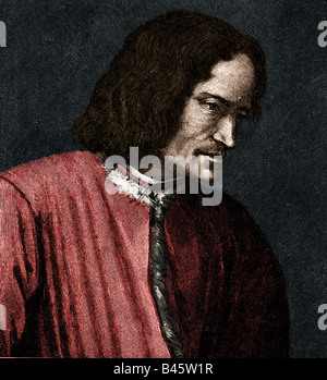 Medici, Lorenzo I deS , 'the Magnificnet',  1.1.1449 - 8.4.1492, ruler of Florence 1469 - 1492, portrait, side view, - Stock Photo