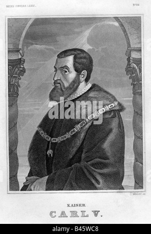Charles V, 24.2.1500 - 21.9.1558, Holy Roman emperor from 26.10.1530 - 23.8.1556, half length, engraving, by C.Müller, - Stock Photo