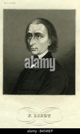 Liszt, Franz, 22.10.1811 - 31.7.1886, Hungarian composer and musician, steel engraving, Meyers Konversationslexikon, - Stock Photo