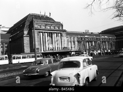 geography/travel, Germany, German Democratic Republic, Leipzig, main station, car, cars, Trabant P50, Additional - Stock Photo