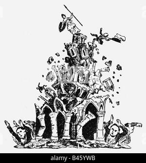 events, revolutions 1848 - 1849, Germany, caricature, Germany is collapsing, drawing, 19th century,  , Additional - Stock Photo