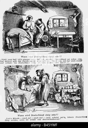 events, revolutions 1848 - 1849, Germany, caricature, 'When will Germany be united?!', wood engraving, 'Fiegende - Stock Photo