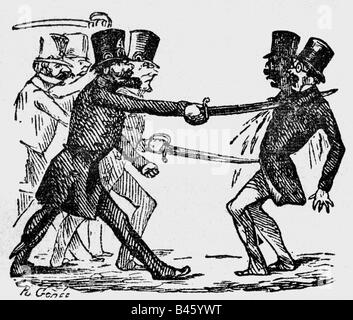 events, revolutions 1848 - 1849, Germany, caricature, 'Someone soaked with monarchy', wood engraving, 'Kladderadatsch', - Stock Photo