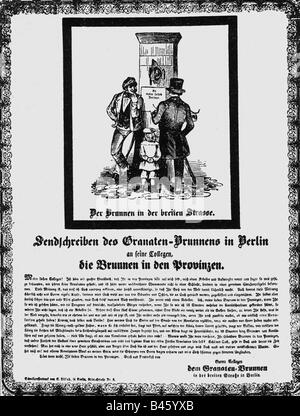 events, revolutions 1848 - 1849, Germany, Prussia, poster, 'Sendschreiben des Granatenbrunnen in Berlin', 1848, - Stock Photo