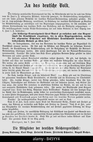 events, revolutions 1848 - 1849, Germany, Remainder Parliament, poster, 'An das Deutsche Volk' ('To the German People'), - Stock Photo