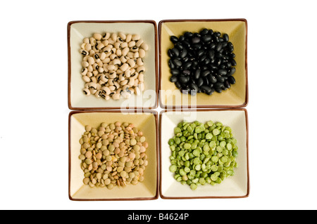 Four plates with lentils, black beans, black eyed peas, split peas - Stock Photo