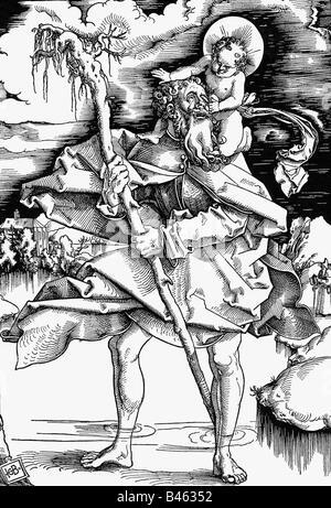Christopher, + circa 250, saint, martyr, woodcut, by Hans Baldung Grien (1484 / 1485 - 1545), Germany, first half - Stock Photo