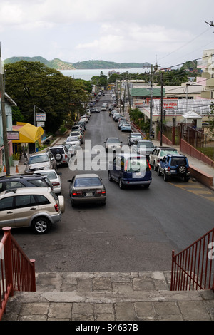 Newgate Street in the capitol of Antigua St John's viewed from St John's Cathedral towards the harbour - Stock Photo