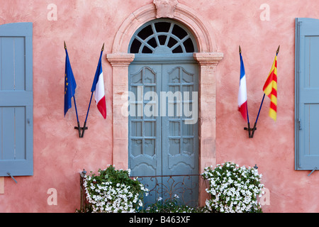 a window of the Marie in Rousillon, the Vaucluse, Provence, France - Stock Photo