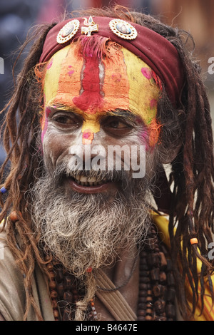 Portrait of a Sadhu holy man in Hinduism Nepal - Stock Photo