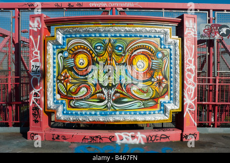 Graffiti piece on the Williamsburg Bridge - Stock Photo