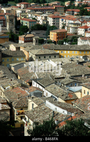 A view of the rooftops in San Severino, Italy - Stock Photo