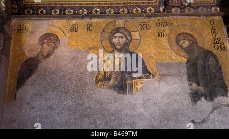 Turkey Istanbul Hagia Sophia Museum Mosaic panel depicting Jesus Christ, The Virgin Mary and St John the Baptist - Stock Photo