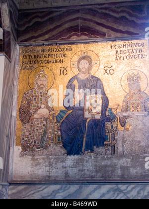 Turkey Istanbul interior of the Hagia Sophia Museum showing The Empress Zoe mosaic panel dipicting Jesus Christ - Stock Photo