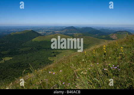 view from puy de dome volcano  over auvergne countryside,clermont ferrand,france - Stock Photo