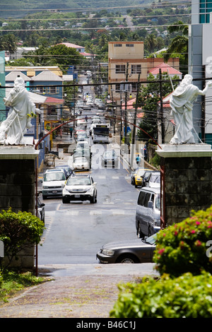 Temple Street in the capital city of St John's on the Carribean island of Antigua viewed from St John's Cathedral - Stock Photo