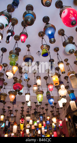 Turkey Istanbul traditional lights hanging from ceiling - Stock Photo