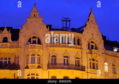The magnificent facade of a building in Prague, a city famous for its mix of baroque and gothic architecture, in - Stock Photo