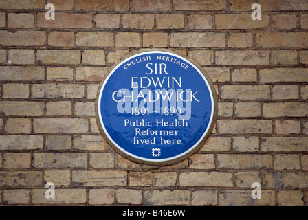 blue plaque marking the former home of victorian public health reformer sir edwin chadwick, in richmond, surrey, - Stock Photo