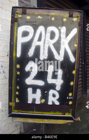 A park 24 hour sign in the Chelsea neighborhood of New York on Sunday August 31 2008 Frances M Roberts - Stock Photo