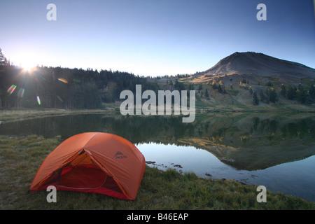a tent at lower highland lake below hiram peak near the carson-iceberg wilderness of california - Stock Photo