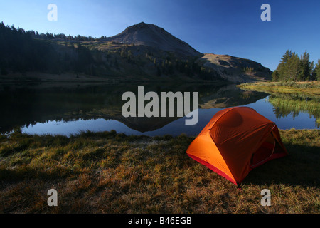 a tent at lower highland lake below hiram peak near the carson-iceberg wilderness of california - Stock Photo