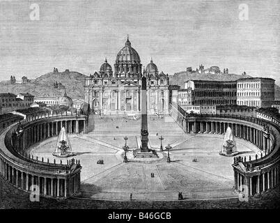 geography / travel, Italy, Rome, Vatican, Saint Peter's Square and St Peter's cathedral, exterior view, engraving, - Stock Photo