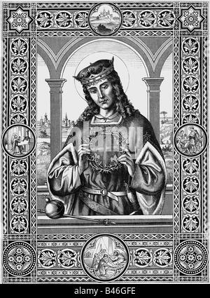 Louis IX 'the Saint', 25.4.1214 - 25.8.1270, King of France 8.11.1226 - 25.8.1270, with crown of thorns, half length, wood engraving, Regensburg, 1888, ,
