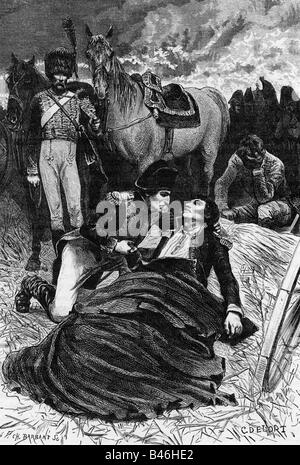 Lannes, Jean, 10.4.1769 - 31.5.1809, French General, death in the Battle of Aspern-Essling, wood engraving, 19th - Stock Photo