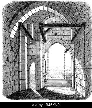 architecture, castles, detail, gate, interior side, wood engraving, 19th century, castle, middle ages, draw bridge, - Stock Photo