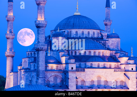 Turkey Istanbul moonrise over the Sultan Ahmed Mosque Blue Mosque - Stock Photo