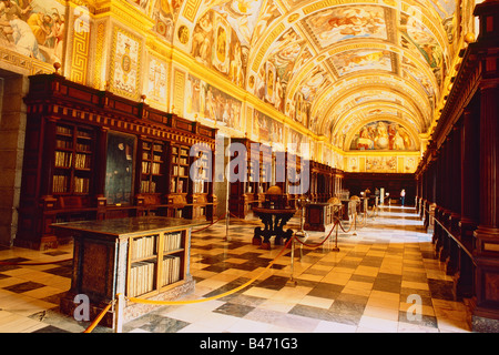 Spain - Madrid - neighbourhood - 'Royal Monastery of San Lorenzo El real' - Library - Stock Photo