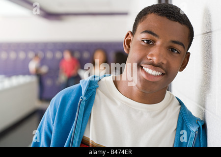 Portrait of a male high school student - Stock Photo