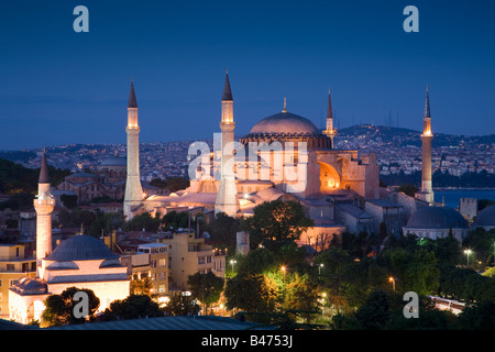 Turkey Istanbul Elevated view of the Hagia Sophia Mosque - Stock Photo