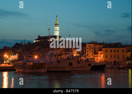 Rovinj old town at night - Stock Photo