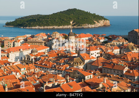 Dubrovnik old town and island - Stock Photo
