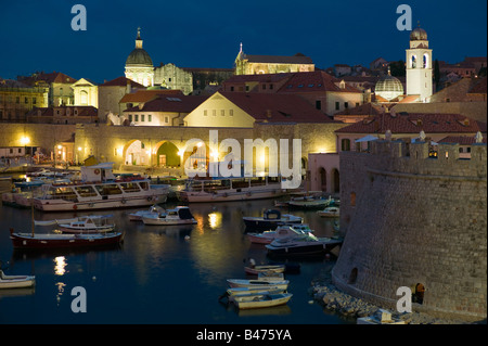 Dubrovnik old town at dusk - Stock Photo