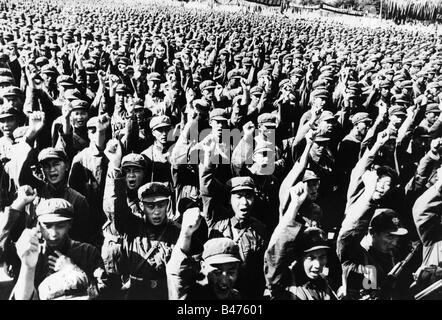 geography / travel, China, politics, Chinese soldiers during an anti-American demonstration in Beijing, late July - Stock Photo