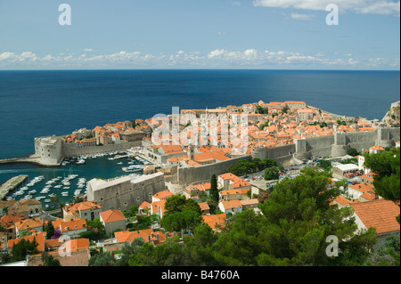 Dubrovnik old town and marina - Stock Photo