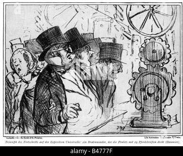 exhibitions, world exposition, Paris, 1.4.1867 - 31.12.1867, caricature, turnspit, drawing by Honore Daumier, 1867, - Stock Photo