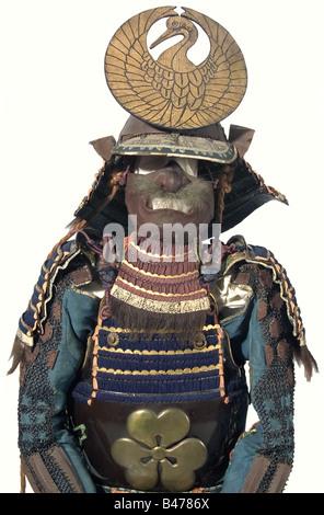 A leather ni-mai-do tosei gusoku, Japan, end of the Edo/beginning of the Meiji period. Momonari-kabuto in clear - Stock Photo