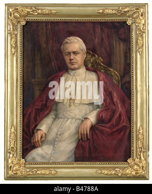 Pope Pius XII - a portrait of Pope Pius X, Oil on canvas, the Pope wearing a light-coloured cassock and red cloak, - Stock Photo
