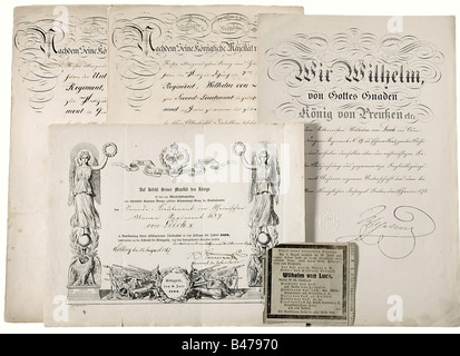 Certificates and Documents Legacy, of Major Wilhelm von Luck, Uhlan Regiment Nr. 7 and Dragoon Regiment Nr. 19. - Stock Photo