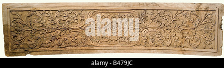 Two carved panels, Portugal(?), 18th century. Oak with high carved leafy and flowery vines. There is a cartouche - Stock Photo